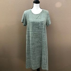 Lularoe Carli heather green high low dress Sz S